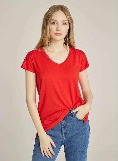 NGSTYLE V Yaka Basic Tişört Kırmızı